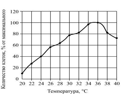 Численность бактерий от температуры
